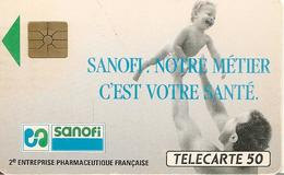 CARTE^-PUCE-PRIVEE- 50U-D344 A-SANOFI-R° Fleche VERTE-Utilisé-TBE- - France