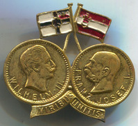 AUSTRIA / GERMANY - WW1, K.u.K., VIRIBUS UNITIS, Wilhelm II & Franz Josef I, Vintage Pin, Badge, Abzeichen, Dim: 35x30mm - Militair & Leger