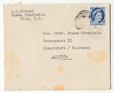 Canada Letter Cover Travelled 195? Charlotte City To Klagenfurt Bb161210