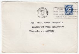 You Need Civil Defence Civil Defence Needs You Slogan Postmark On Letter Cover Travelled 1956 To Austria Bb161210