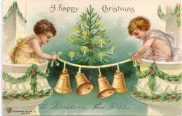 Vintage Christmas Postcard Children Hanging Bells 1906 Embossed  IAP UND - Christmas