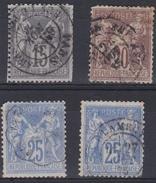 France 1876 - N°66(o)-67(o)-68(o) - Lot De 4 Timbres - Sage - 1876-1878 Sage (Type I)