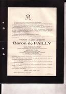 STRYTHEM Victor Baron De FAILLY époux De GOLSTEIN 97 Ans 1919 Burgemeester Conseiller Province Brabant De LICHTERVELDE - Todesanzeige