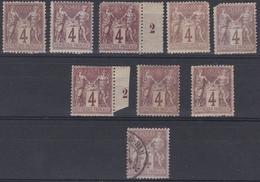France 1877 - N°88*/o - Lot De 9 Timbres Sage - 1876-1898 Sage (Type II)