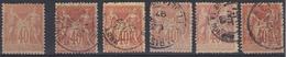 France 1881 - N°94*/(o) - Lot De 6 Timbres Sage - 1876-1898 Sage (Type II)