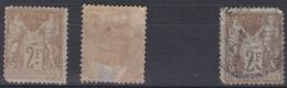 France 1900 - N°105*/(o) - Lot De 3 Timbres - Sage - 1876-1898 Sage (Type II)