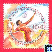 Sri Lanka Stamps 2016, Volleyball, Sport, Round, Odd, MNH - Sri Lanka (Ceylon) (1948-...)