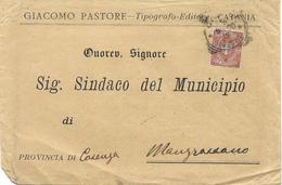 STORIA POSTALE BUSTA INTESTATA DA CATANIA A MONGRASSANO ANNULLO TONDO RIQUADRATO - 1878-00 Umberto I