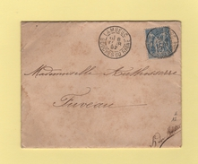 Lambesc - Bouches Du Rhone - 8 Fevr 1892 - Lettre Type Valentine - Postmark Collection (Covers)