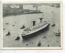 Paquebot FRANCE Entrant Dans Le Port Le Havre (vue Aérienne Abeilles Musée) CP Double Pas D'éditeur - Dampfer