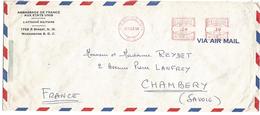 USA EMA AMBASSADE DE FRANCE SUR LETTRE 1956 - Marcophilie