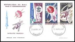 10903/ Espace (space Raumfahrt) Lettre (cover Briefe) 17/4/1967 Satellites Francais Fdc Diamant A1 D1 Mali