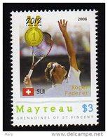 Grenadines Of St. Vincent / Mayreau 2012 MNH Olympics 2012 London,TENNIS, Medalists,Roger Federer