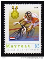 Grenadines Of St. Vincent / Mayreau 2012 MNH Olympics 2012 London,Cycling, Medalists,Marianne Vos