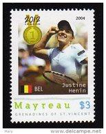 Grenadines Of St. Vincent / Mayreau 2012 MNH  Olympics 2012 London,TENNIS, Medalists,Justine Henin.