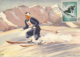 D28069 CARTE MAXIMUM CARD 1955 SAN MARINO - DOWN HILL SKIING OLYMPICS CORTINA CP ORIGINAL - Skiing