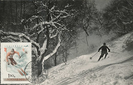 D28072 CARTE MAXIMUM CARD RR 1955 HUNGARY - DOWN HILL SKIING CP VINTAGE ORIGINAL - Skiing