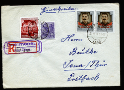 A4362) DDR R-Brief Von Brahmenau ü. Gera 30.11.54 Nach Jena Mit Prov. R-Zettel - DDR