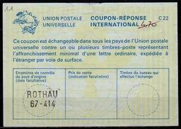 FRANCE / ALSACE  La23  Ms. 4,70  International Reply Coupon Reponse IAS IRC Antwortschein O ROTHAU 67-414 ( BAS-RHIN ) - Ganzsachen