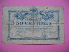 Bon / Billet Chambre De Commerce D'Annonay  De Cinquante Centimes N°  87 / 29 Délibération Du 31 Août 1914 - Chambre De Commerce