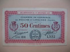 Bon / Billet Chambre De Commerce De Moulins Et Lapalisse (L'Allier)  De Cinquante Centimes N°  1 532 Série 212 - Chamber Of Commerce