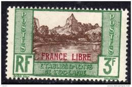 """Océanie N° 140 XX  3 F. Vert Et Brun Surchargé  """"France Libre"""" Sans Charnière TB"""