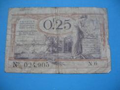 Bon / Billet Chambre De Commerce D'Armentières, Arras ,  De Vingt Cinq Centimes N°  024 905  / N6 - Chamber Of Commerce