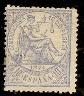 Edifil  145*   10 Céntimos Azul  Alegoría Justicia   1874   NL1068 - Oblitérés