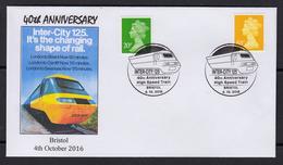 GREAT BRITAIN 2016 SPECIAL POSTMARK TGV INTER CITY 125 HIGHT SPEED TRAIN - Eisenbahnen
