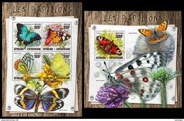 CENTRAL AFRICA 2016 - Butterflies, M/S + S/S Official Issue - Butterflies
