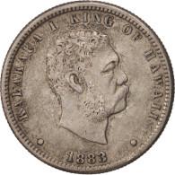 Hawaii, Kalakaua I, 1/4 Dollar, Hapaha, 1883, TTB+, Argent, KM:5 - United States