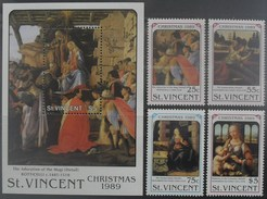 St. Vincent 1989 Christmas ** MNH Botticelli - Leonardo Da Vinci