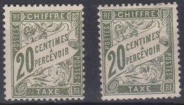 France Timbre Taxes N°31**/* - Lot De 2 Timbres - 1859-1955 Mint/hinged