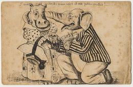 Monsieur Elephant Et Madame Hippopotame Humains Et Habillés Se Faisant La Cour Dessin à La Plume Original - Elephants