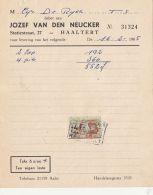 4738FM- JOZEF VAN DEN NEUCKER COMPANY HEADER INVOICE, REVENUE STAMP, 1965, BELGIUM - Belgique