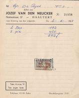 4741FM- JOZEF VAN DEN NEUCKER COMPANY HEADER INVOICE, REVENUE STAMP, 1965, BELGIUM - Belgique