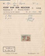 4742FM- JOZEF VAN DEN NEUCKER COMPANY HEADER INVOICE, REVENUE STAMP, 1966, BELGIUM - Belgio