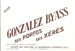 Buvard GONZALES BYASS Ses Portos Ses Xérès Société Des Vins Fins La Membrolle Sur Choisille Indre Et Loire - Schnaps & Bier