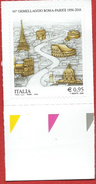 Italia 2016; 60° Anniversario Del Gemellaggio Tra Le Città Di Roma E Parigi. Francobollo Di Bordo Inferiore. - 6. 1946-.. Repubblica