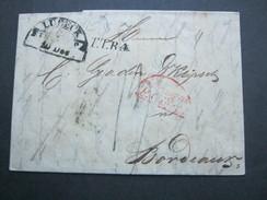 1835 , LÜBECK , Brief Mit Inhalt Nach Frankreich Mit Rotem Transitstempel
