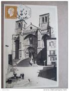 "Rare Cachet Hexagonal ""Sembadel-gare Haute Loire 1946"" Indice Pothion=15 Marianne Dulac Cp Chaise Dieu Abbaye Pour Lyon - Poste Ferroviaire"