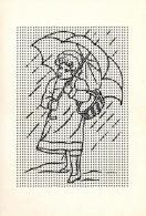 [DC3693] CPA - BAMBINA CON OMBRELLO SOTTO LA PIOGGIA - TUTTA FORATA - BUCHERELLATA - Non Viaggiata - Old Postcard - Cartoline