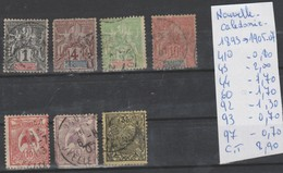 TIMBRE DENOUVELLE-CALEDONIE OBLITEREES NR 41-43-44-60-92-93-97- ANNEES 1893-1905-07 COTE 8.90€ - Gebraucht