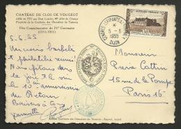 """1955 - """" Congrès Aspirants De STABLACK """" / DIJON 1955 / Timbre & Carte Du Clos Vougeot - Poststempel (Briefe)"""
