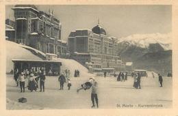 SWITZERLAND - ST. MORITZ - KURVEREINRINK - MEN & WOMEN SKATE - V/F VINTAGE ORIGINAL POSTCARD - GR Grisons