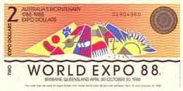 Biglietto  EXPO  Brisbane Queensland   1988  -  BICENTENARIO  CELEBRAZIONI  INSEDIAMENTO  EUROPEO  IN  AUSTRALIA - - Australia