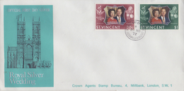 St. VINCENT :1972: Y.326-27 On FDC :  ROYALS,QUEEN Elisabeth,Prince Philip,ROYAL WEDDING, - St.Vincent (...-1979)