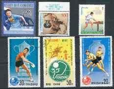 Tennis De Table Lot 06 ; 6 Timbres Pakistan Yougoslavie Comores Corée / Sport Jeux Olympiques Ping Pong - Tennis Tavolo