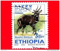 ETIOPIA - Usato - 2002 - Tragelafo Striato - Antilopi - Menelik's Bushbuck - 3 - Form. 25 X 33 Millimetri - Etiopia