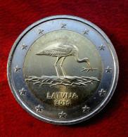 Lettland Latvia 2015 2 Euro Gedenkmünze Storch Münze  Coin CIRCULATED - Lettonie